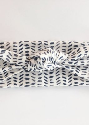 Macie & Me Charcoal and Cream Top Knot Headband