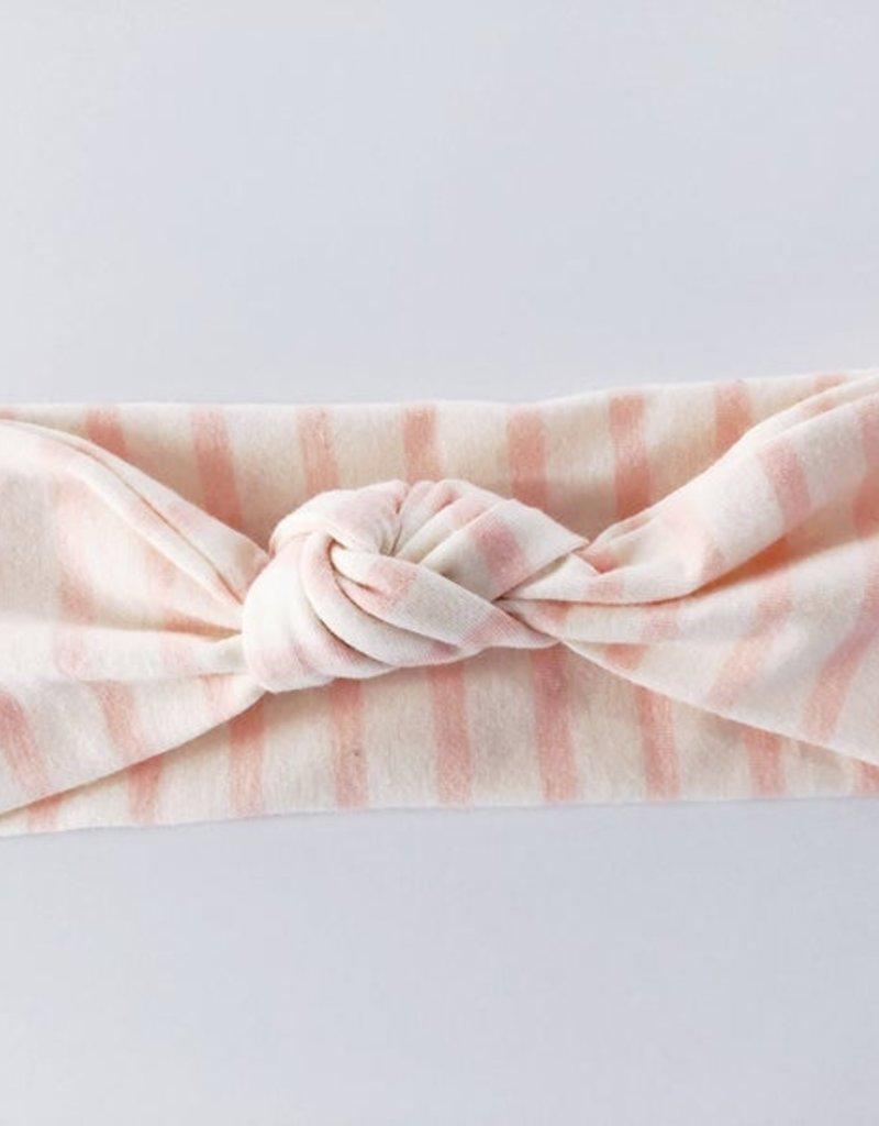 Macie & Me Light Pink Stripe Top Knot headband