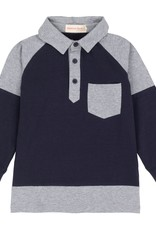 Deux Par Deux Navy Mix Polo Shirt