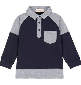 Deux Par Deux Navy Mix Polo Shirt