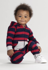 Hatley Crimson Stripe Hooded Baby Romper