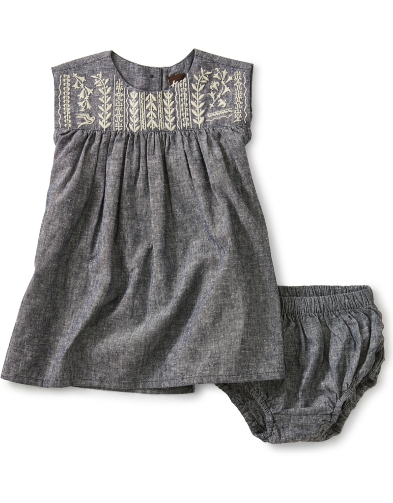 Tea Collection Embroidered Chambray Dress