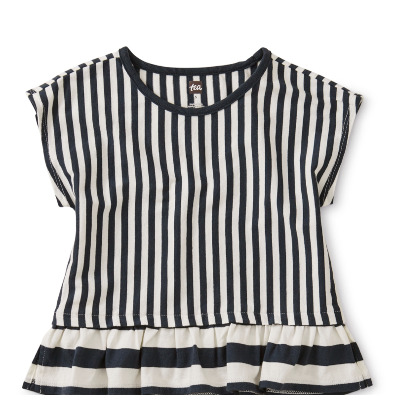 Tea Collection Striped Ruffle Hem Top