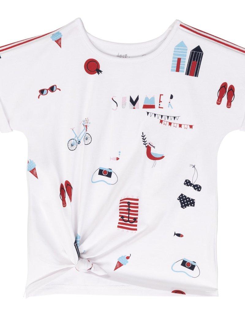 Deux Par Deux jersey top with knot and capri set