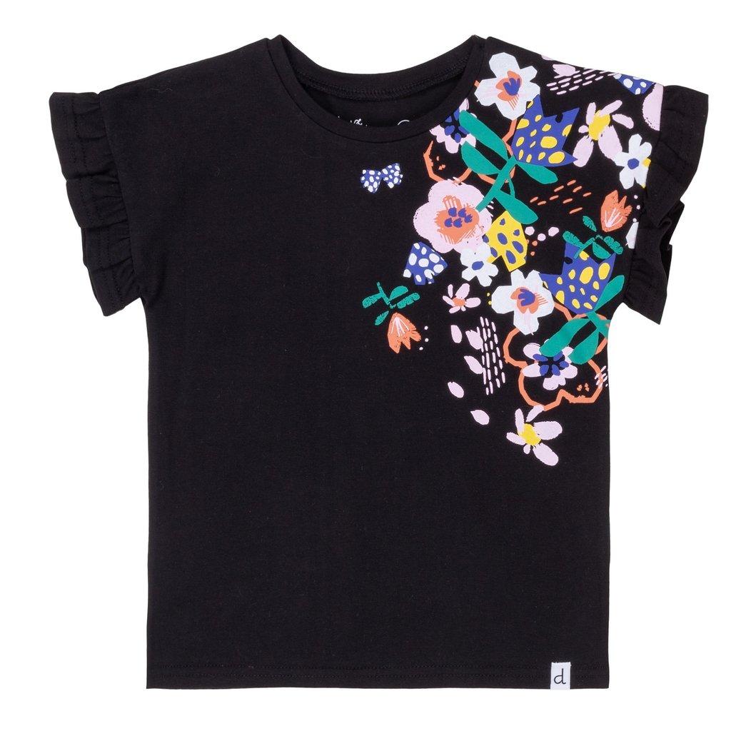Deux Par Deux Frill And Flowers Jersey Top