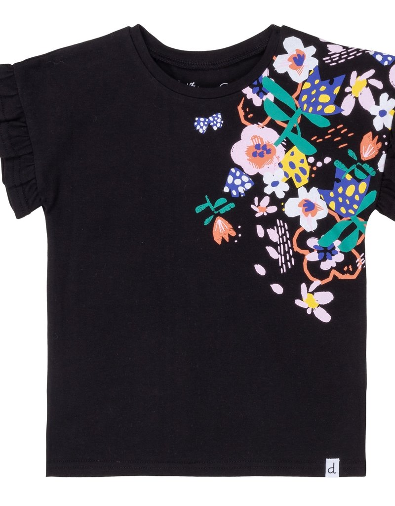 Deux Par Deux Frill And Flowers Jersey Top