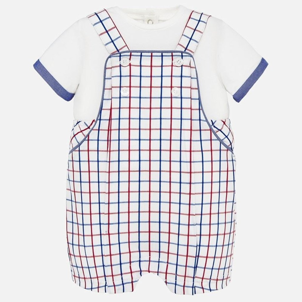 Mayoral USA Red Blue Pane Romper Set