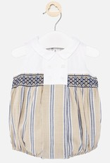 Mayoral USA Tan linen with smocking romper