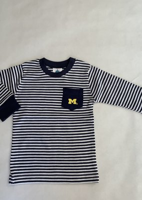 Creative Knitwear Navy White Striped L/S Pocket Tee