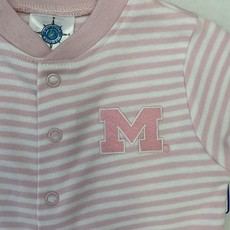 Creative Knitwear Pink Striped Michigan Footie