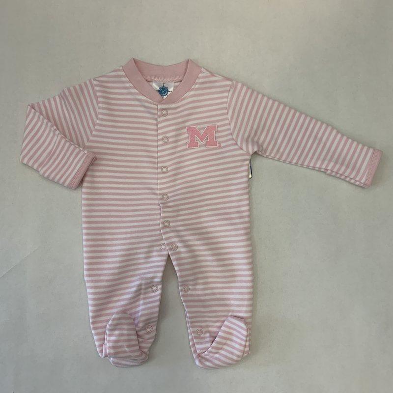 Creative Knitwear Pink Striped Michigan Footie