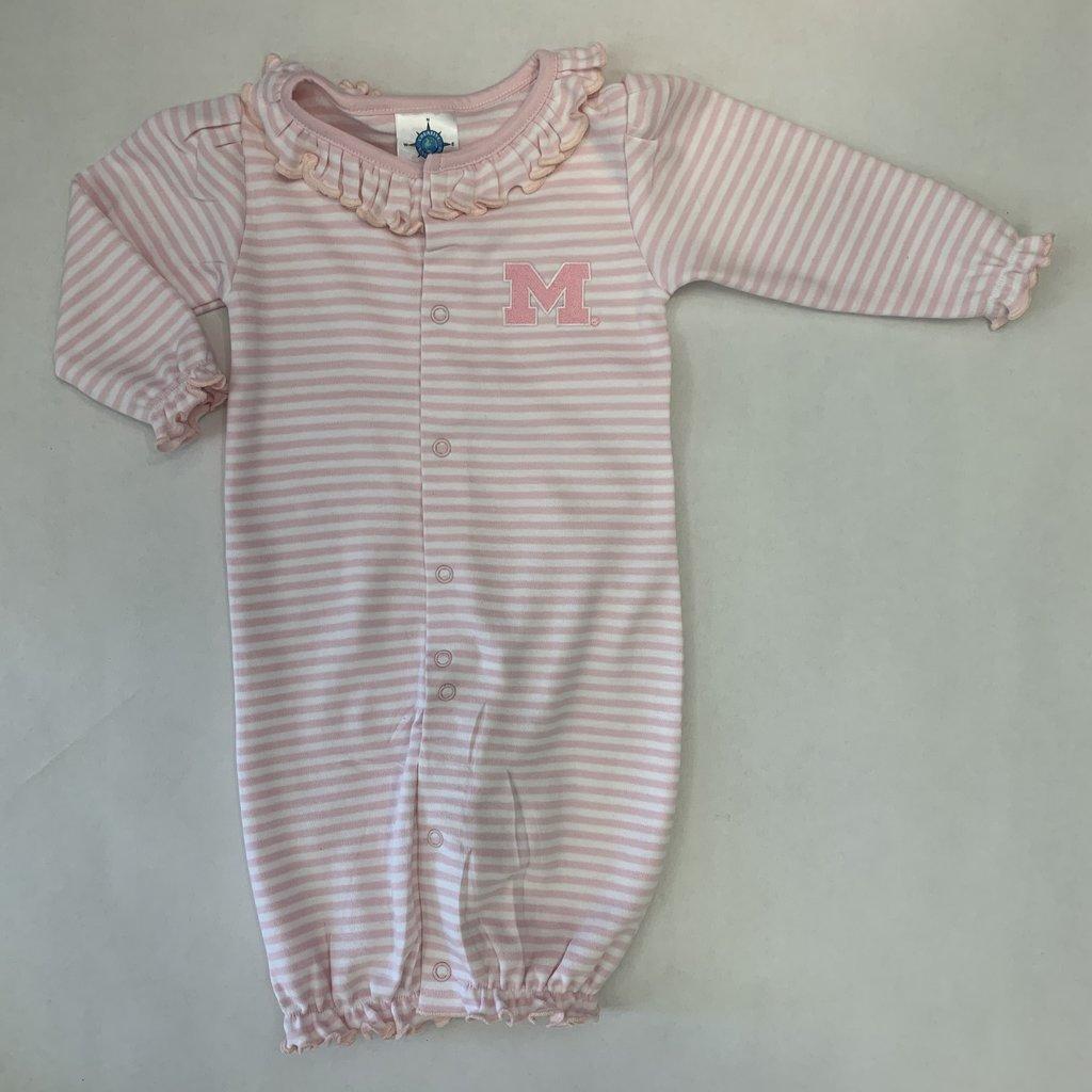 Creative Knitwear Pink Michigan Ruffle Striped Convertible