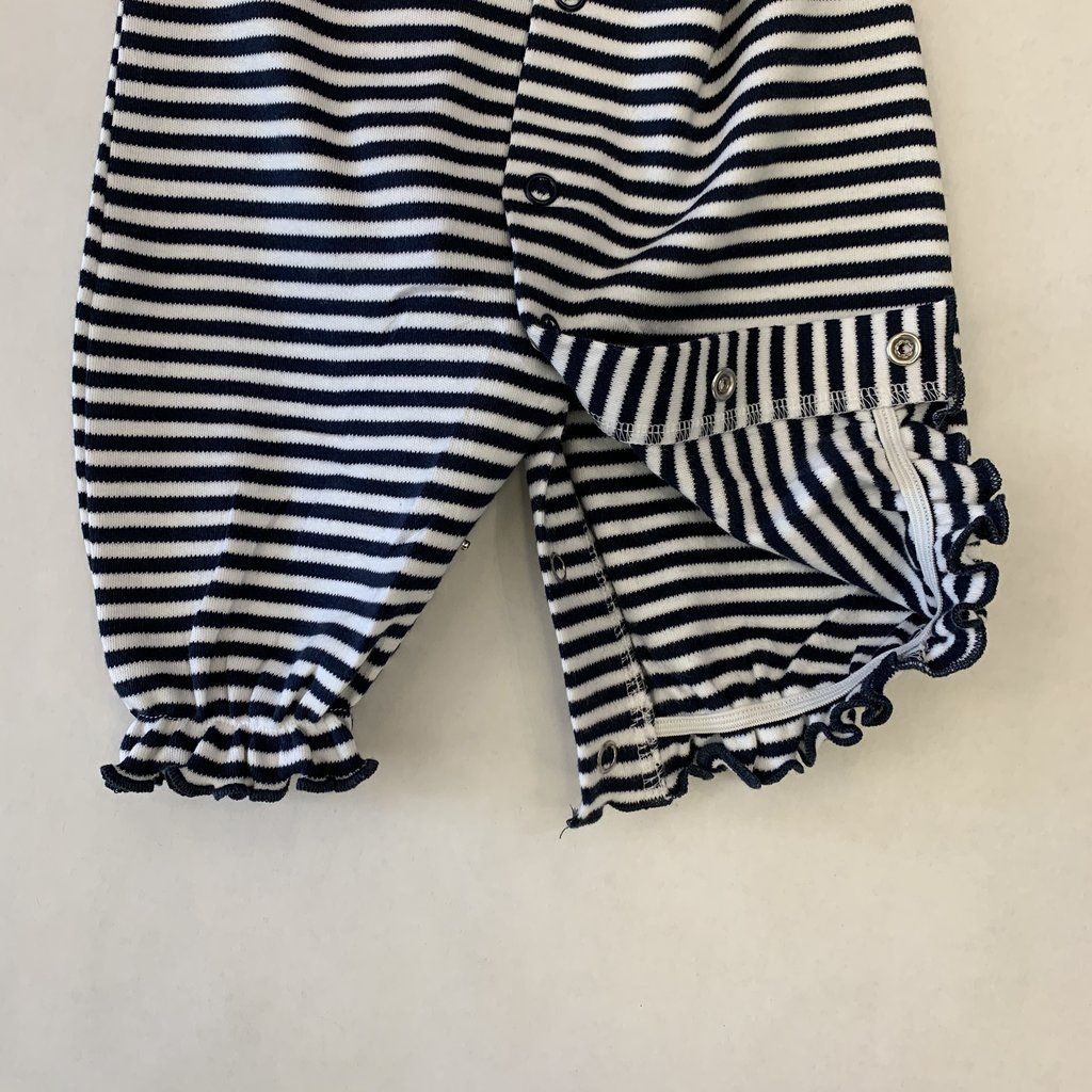 Creative Knitwear Navy Michigan Ruffle Striped Convertible