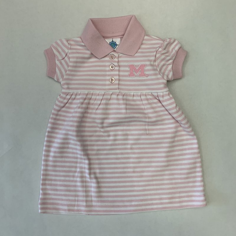 Creative Knitwear Pink White Striped Game Day Dress