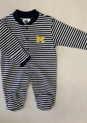 Creative Knitwear Navy White Striped Footed Romper