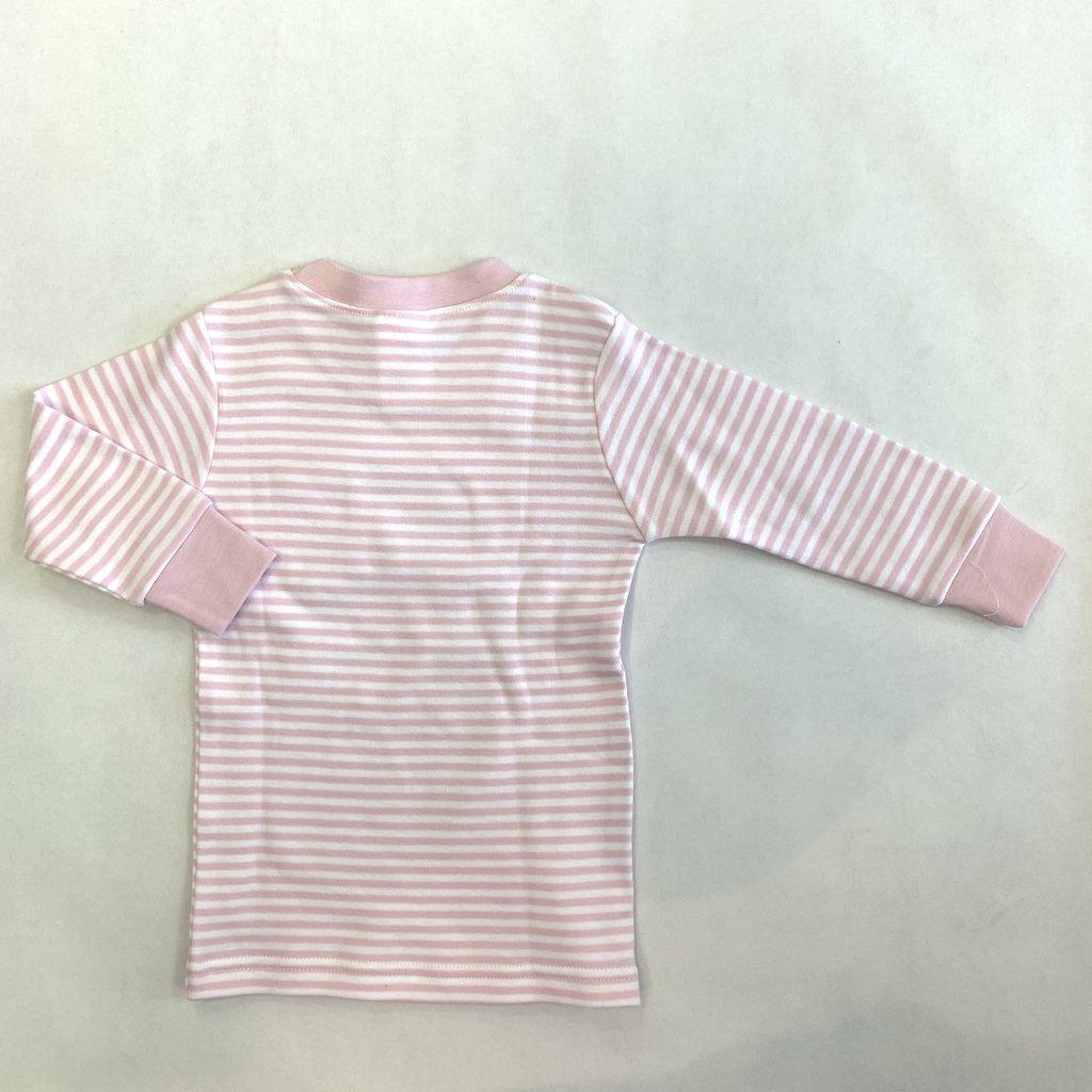 Creative Knitwear Pink White L/S Stripe Pocket Tee