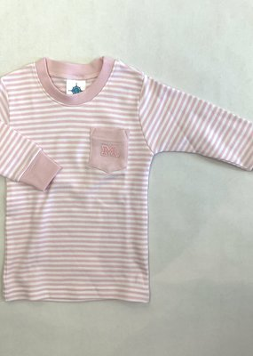 Creative Knitwear Pink White L/S Stripe Pocket Tee