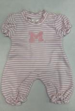 Creative Knitwear Michigan Pink White Striped Bubble Romper