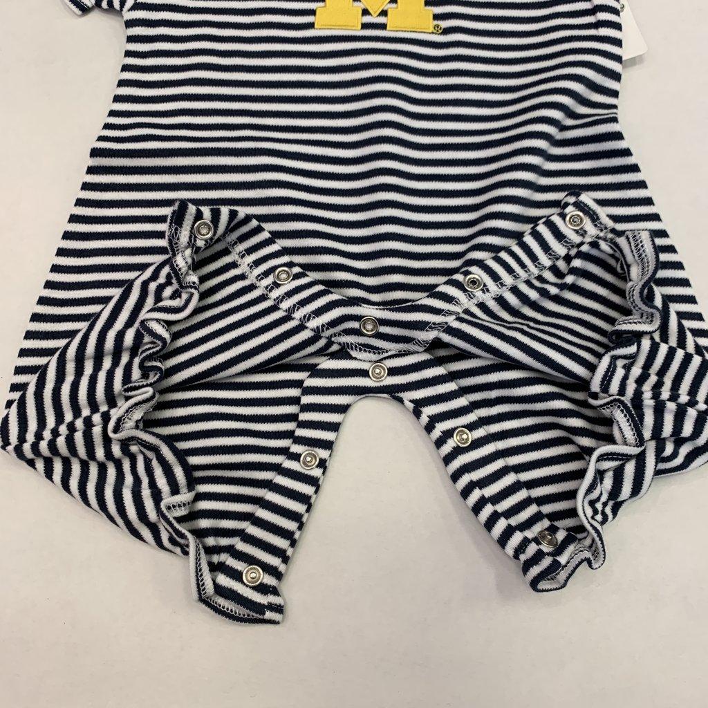 Creative Knitwear Michigan Navy White Striped Bubble Romper