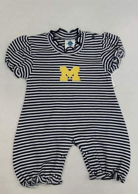 Creative Knitwear Michigan Navy White Striped Bubble Romper