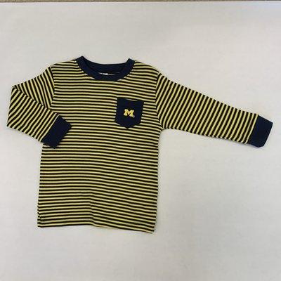 Creative Knitwear Maize & Blue Striped L/S Pocket Tee