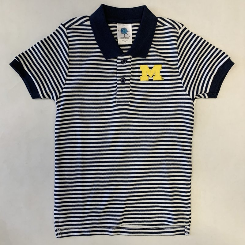 Creative Knitwear Navy & White Striped Michigan Polo Shirt
