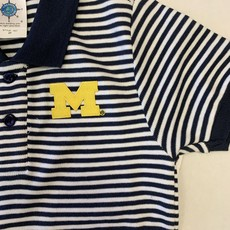 Creative Knitwear Navy & White Striped Michigan Polo Shirt
