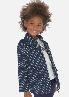 Mayoral USA Navy White polka dot Windbreaker
