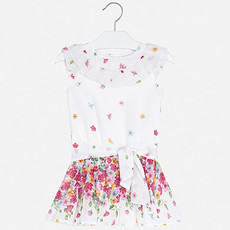 Mayoral USA Strawberry Chiffon Flowers Romper