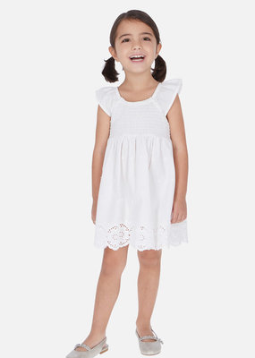 Mayoral USA White Embroidered Flower Dress