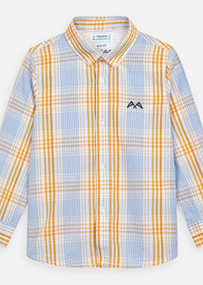 Mayoral USA Orange blue check button up