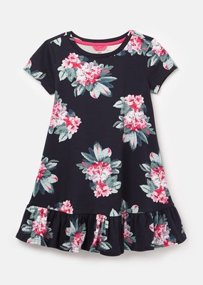 Joules Navy Floral Peplum Dress