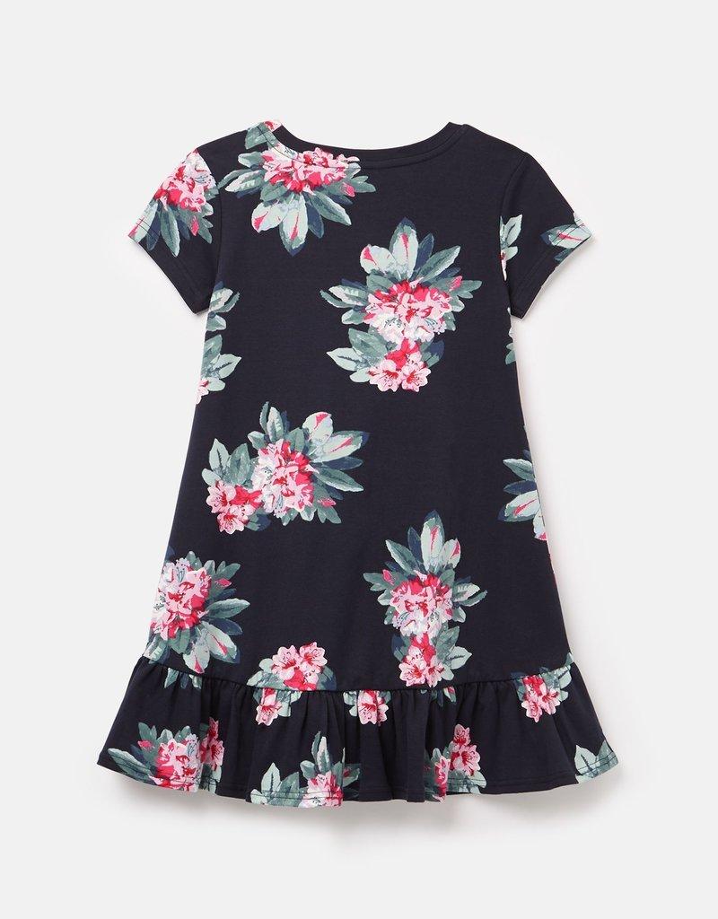 Joules Navy Floral Peplum Dress