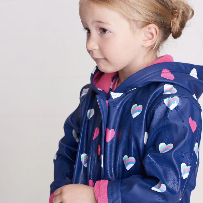 Hatley Striped Hearts Colour Changing Splash Jacket