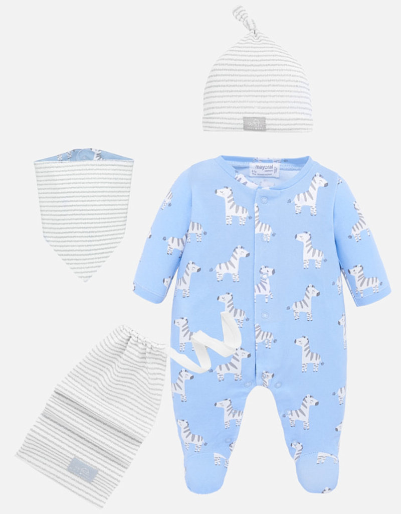 Mayoral USA Blue Bay Bib Hat Pajama Set