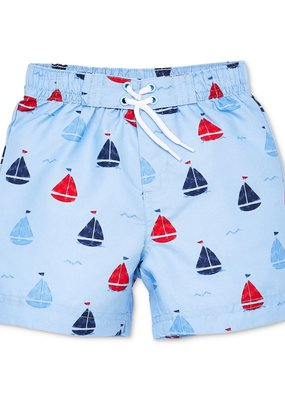 Little Me Sailboat Swim Trunks 3T