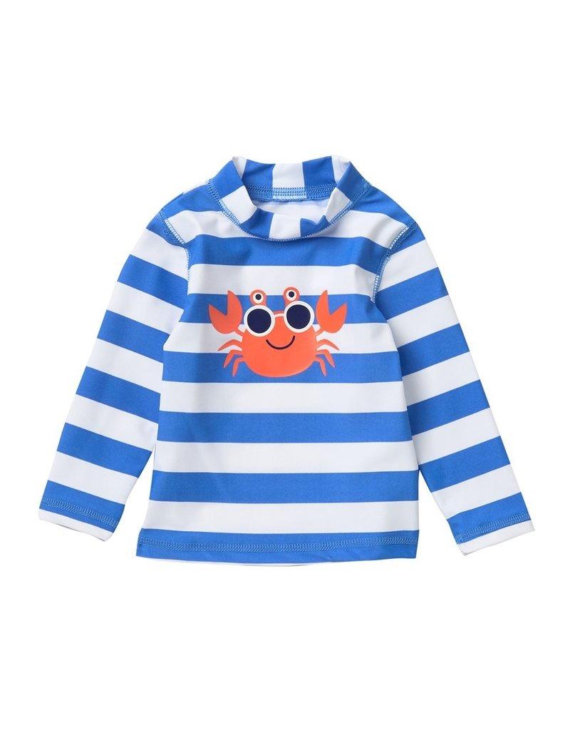 Little Me Blue Stripe Crab Rashguard
