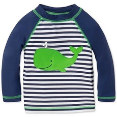 Little Me Navy Stripe Whale Rashguard
