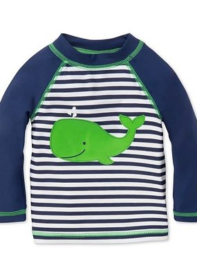 Little Me Navy Stripe Whale Rashguard