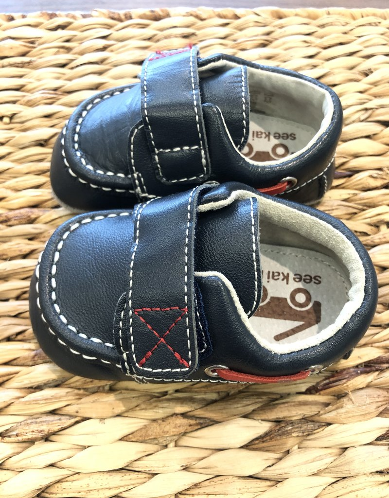 SEE KAI RUN* Milton Navy Crib Shoe  Large