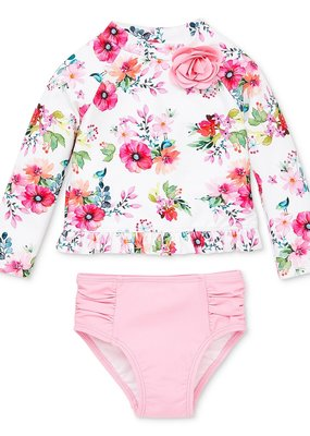 Little Me Watercolor Floral 2PC LS Rashguard