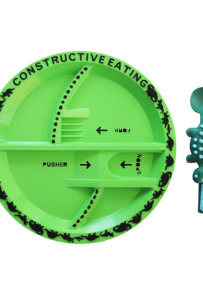 CONSTRUCTIVE EATING Dino Utensil and Plate Combo