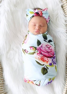 Posh Peanut Infant Swaddle and Headwrap Set