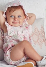 Little Me Pink Garden Sunsuit with Hat
