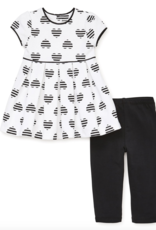 Little Me Black Heart Dress Set