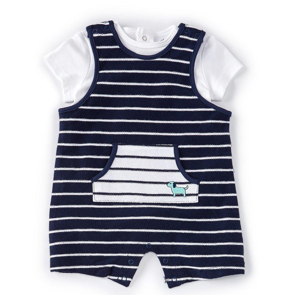Little Me Blue Stripe Shortall Set