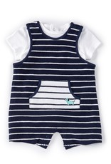 Little Me Blue Stripe Shortall Set