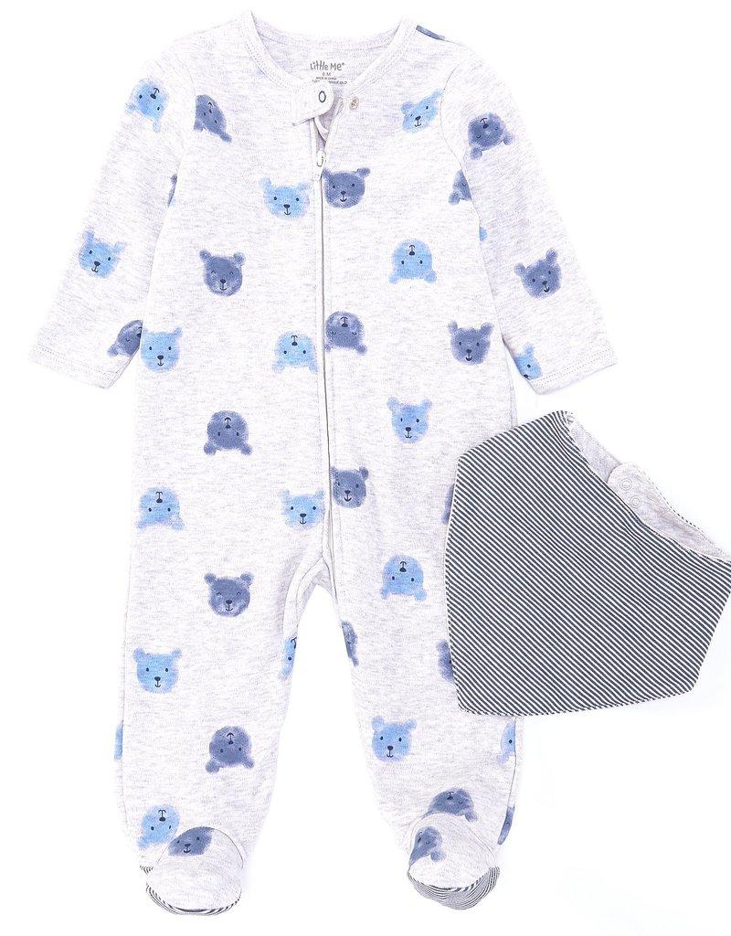 Little Me Blue Bear Footie