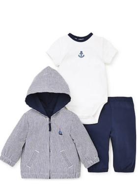 Little Me Blue Sails 3PC Jacket Set