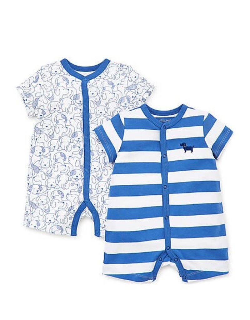 Little Me Blue Puppy Romper 2PK